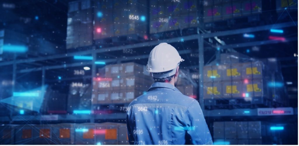 projected inventory - man in hard hat and warehouse